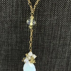 Faceted Cluster Necklace Clear Opaque Faceted Pear